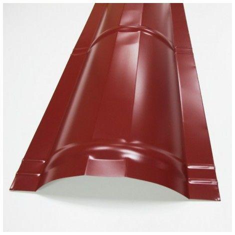 Faîtière demi-cercle pour toiture acier galvanisé laqué aspect tuile