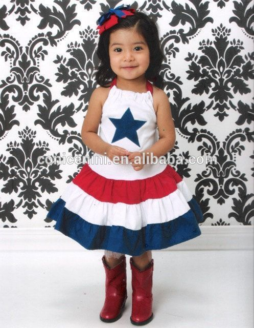 July 4th lovely girls star smocked halter party wear dress for kids