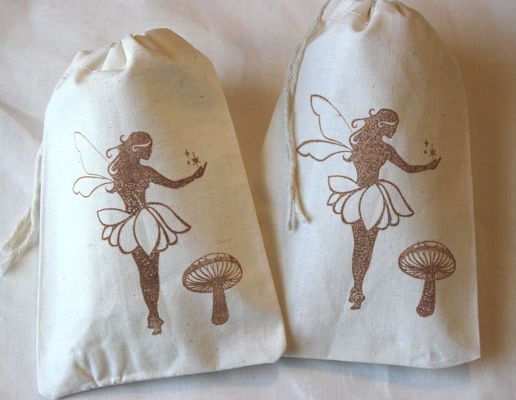 10 Woodland Fairies Birthday Party Organic Muslin Cotton Favor Gift Bags 4x6 - you choose ink color. $15.00, via Etsy.