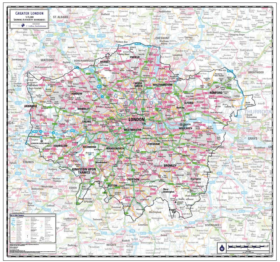 Map Over London.Map Of Greater London County England Co Maps Wall Maps Greater