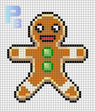 gingerbread man christmas perler pattern patrones beads plantillas para hama - Christmas Perler Bead Patterns