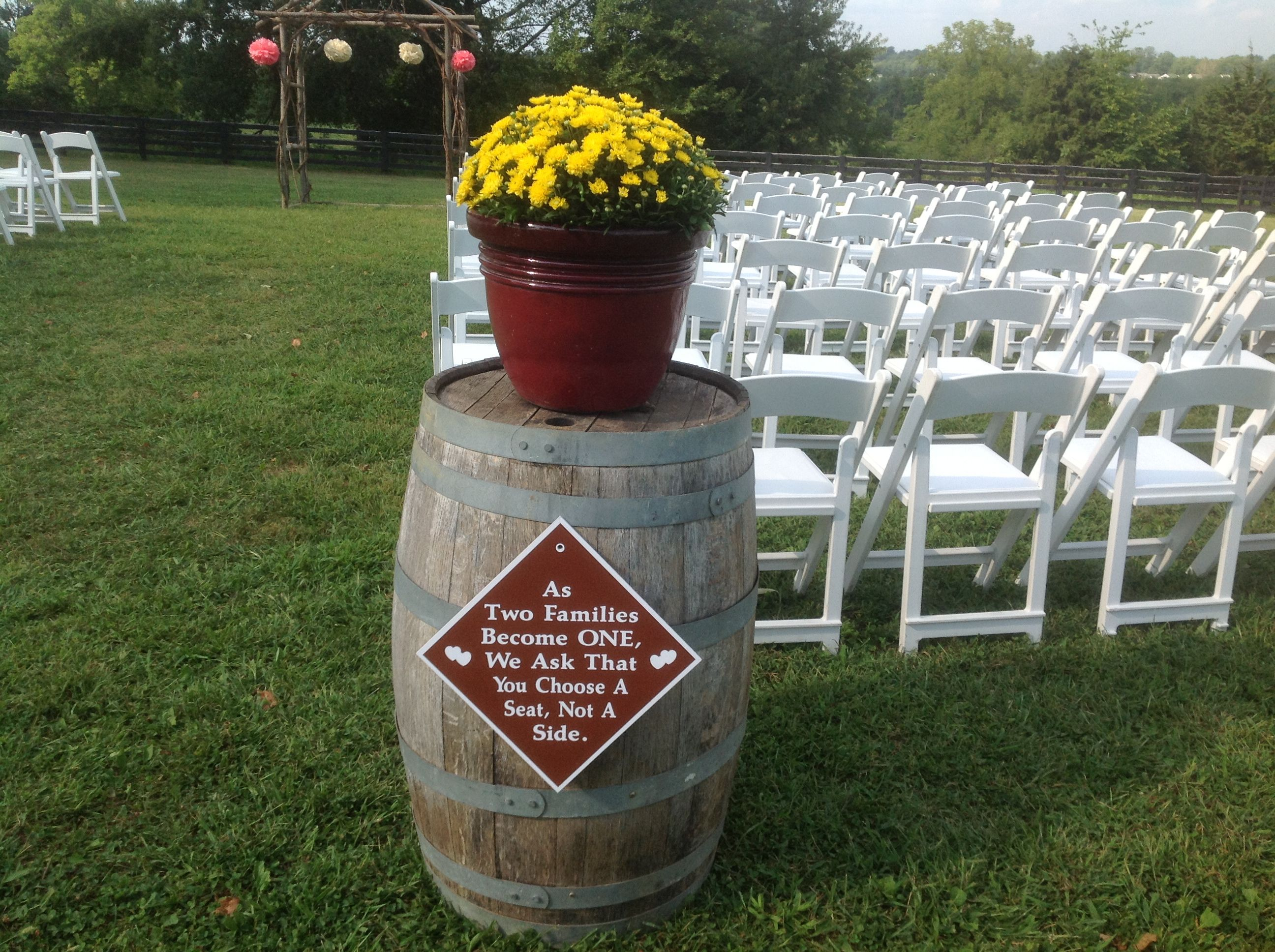 Barrels and sign marked the entrance.