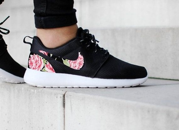 Nike Roshe One Black with Custom White Pink Floral Fabric Design