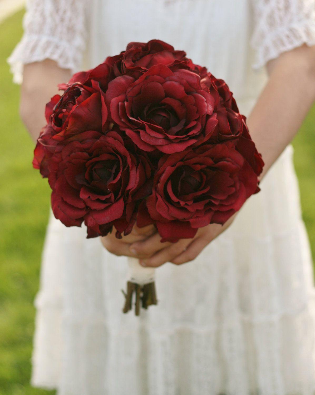 Silk Bride Bouquet Red Roses Rustic Chic Wedding 12500 Via Etsy