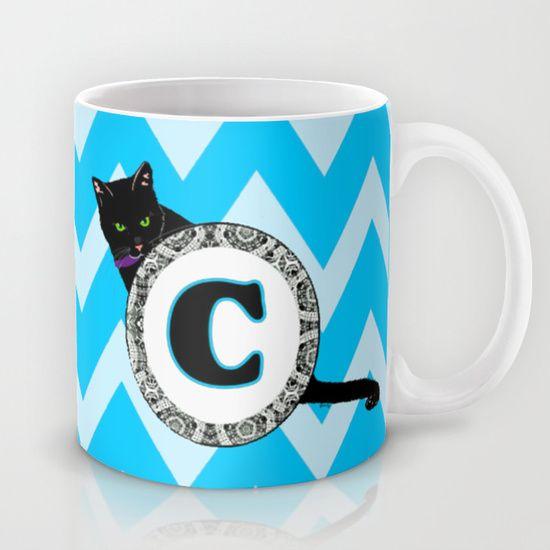 C Cat Chevron Monogram Mug