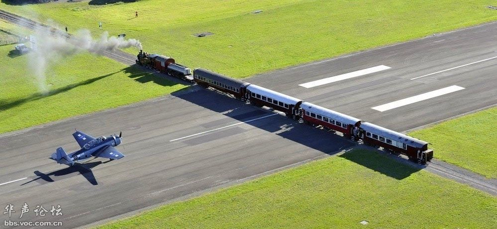 Gisborn Airport, New Zealand.... Train passing through runway