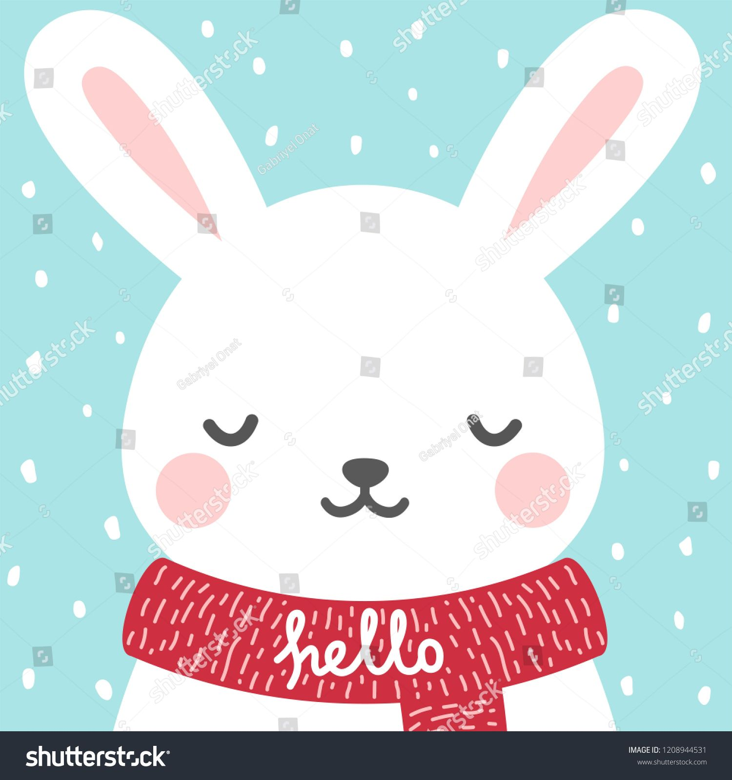 Cute Rabbit Winter Theme Card Easter Or Christmas Bunny Face Background Vector Illustrationtheme Card Easter Christmas Bunny Winter Theme Vector Illustration