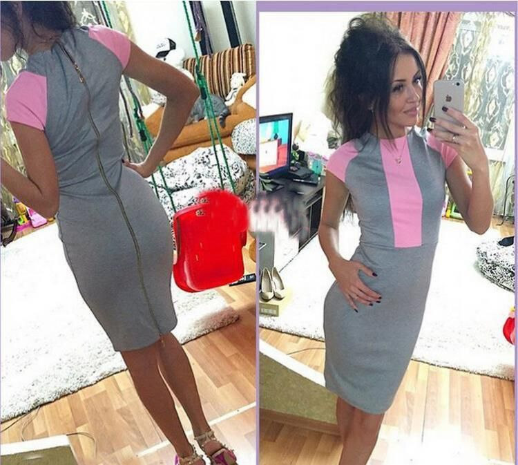 e18ccc0f2c1 2016 Sexy summer dress women fashion pink gray color block tight fitted  dresses ladies sexy bodycon zipper back dress J3271