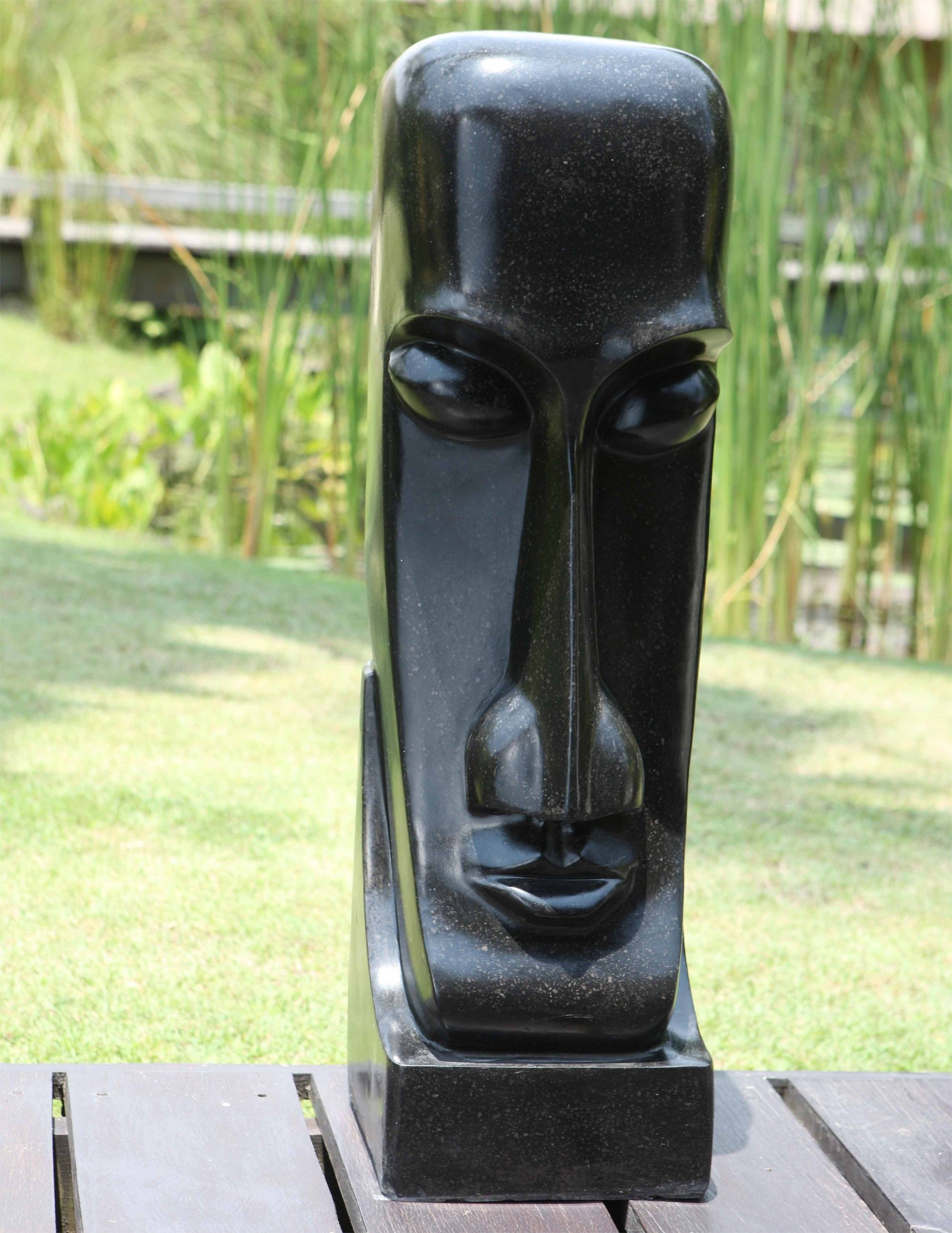 Garden Sculpture Large Black Easter Island Head Statue. Buy Now At Http://