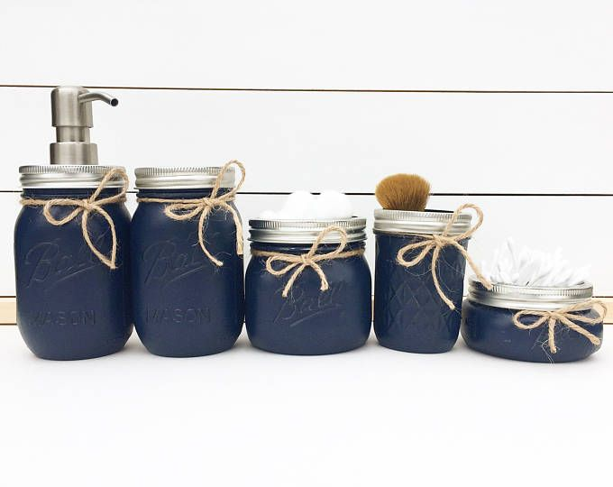 Mason Jar Bathroom Set Organization Soap Dispenser Navy Decor Nautical Home Toothbrush Holder