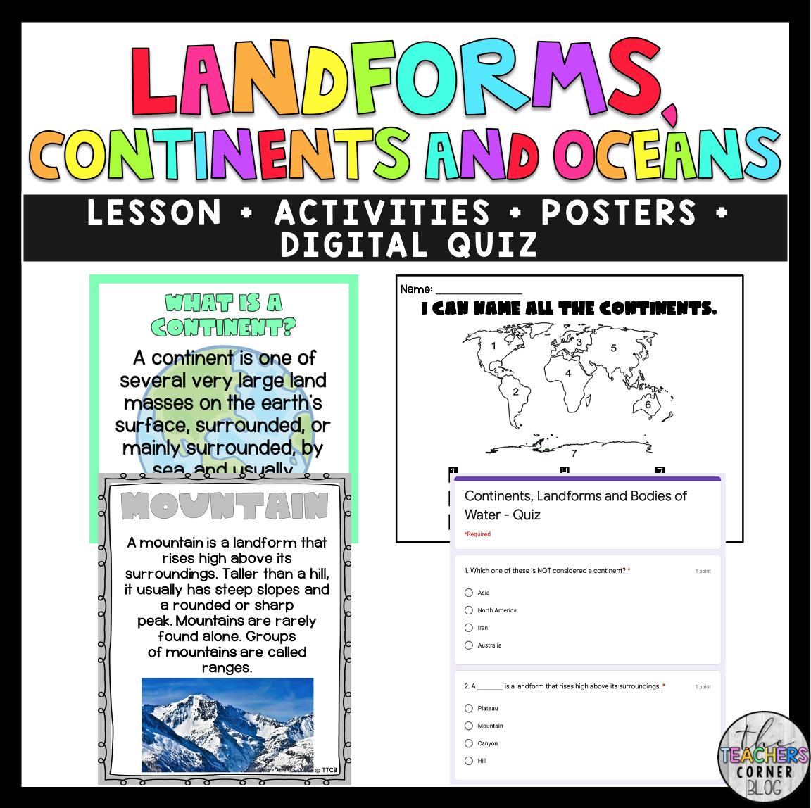 Landforms Continents Amp Oceans