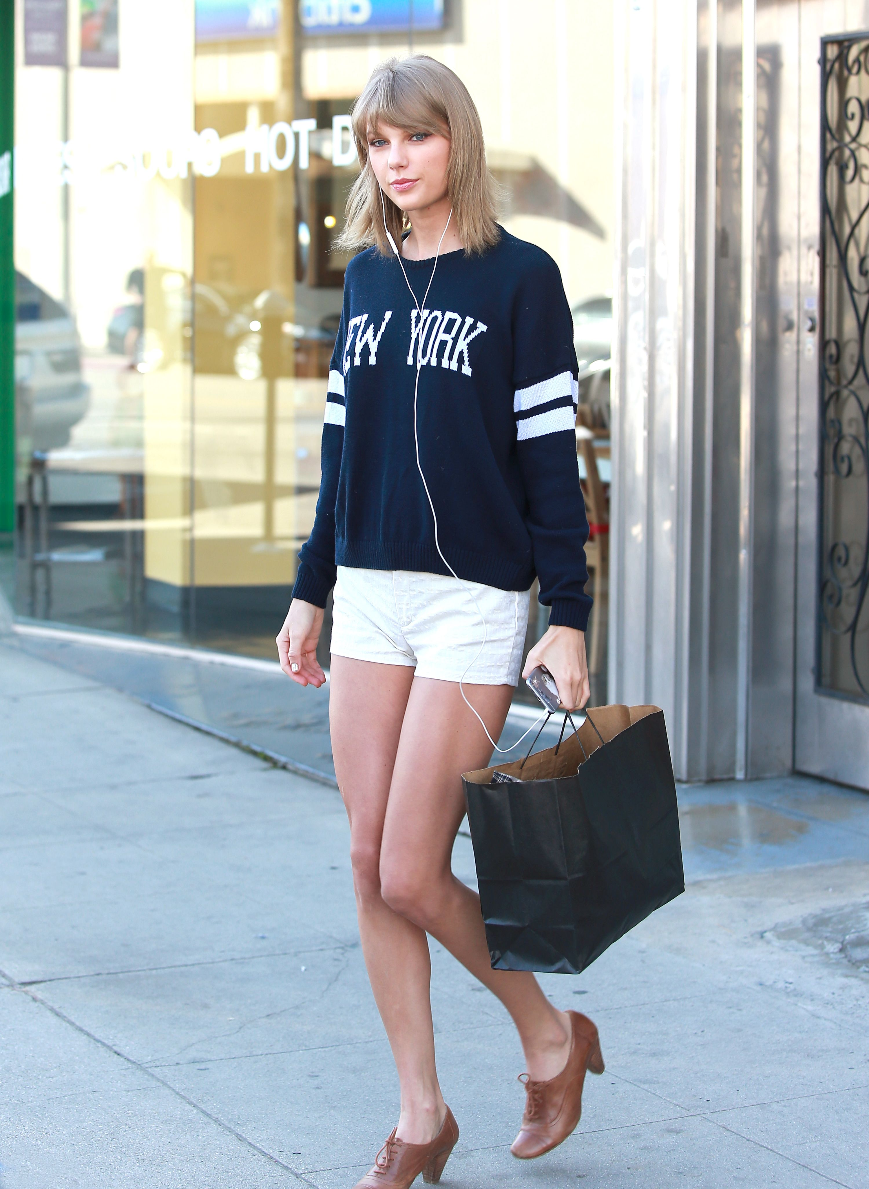 Taylor Swift Flaunts A Violet Bomber And Dress In Nyc Taylor Swift Swift And Street Styles