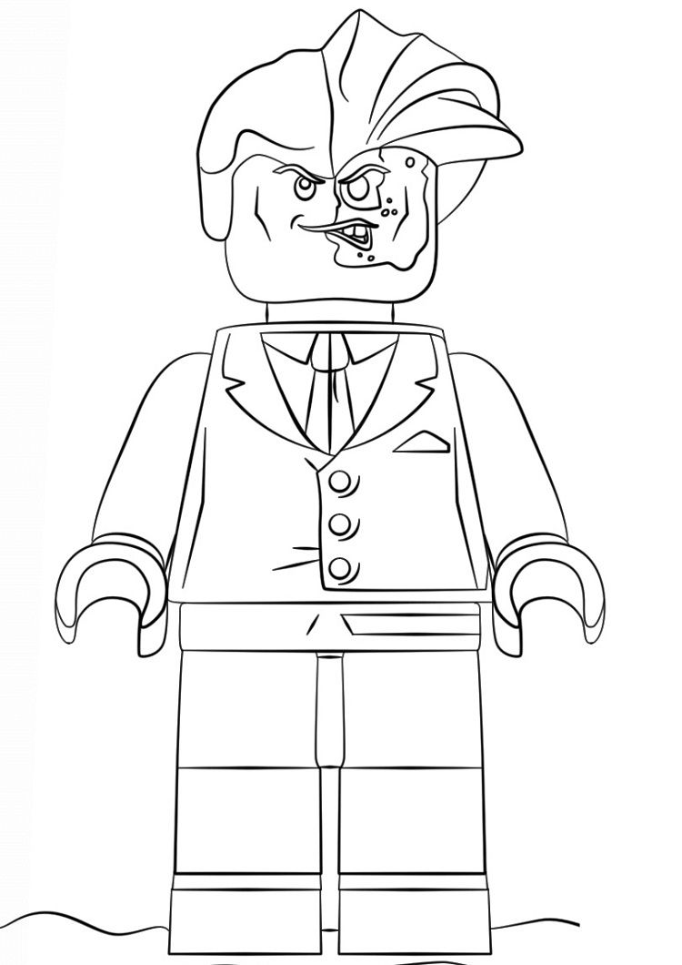Lego Coloring Pages Batman Two face Lego coloring pages