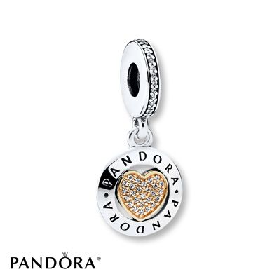 Jared PANDORA Dangle Charm Signature Heart Sterling Silver14K