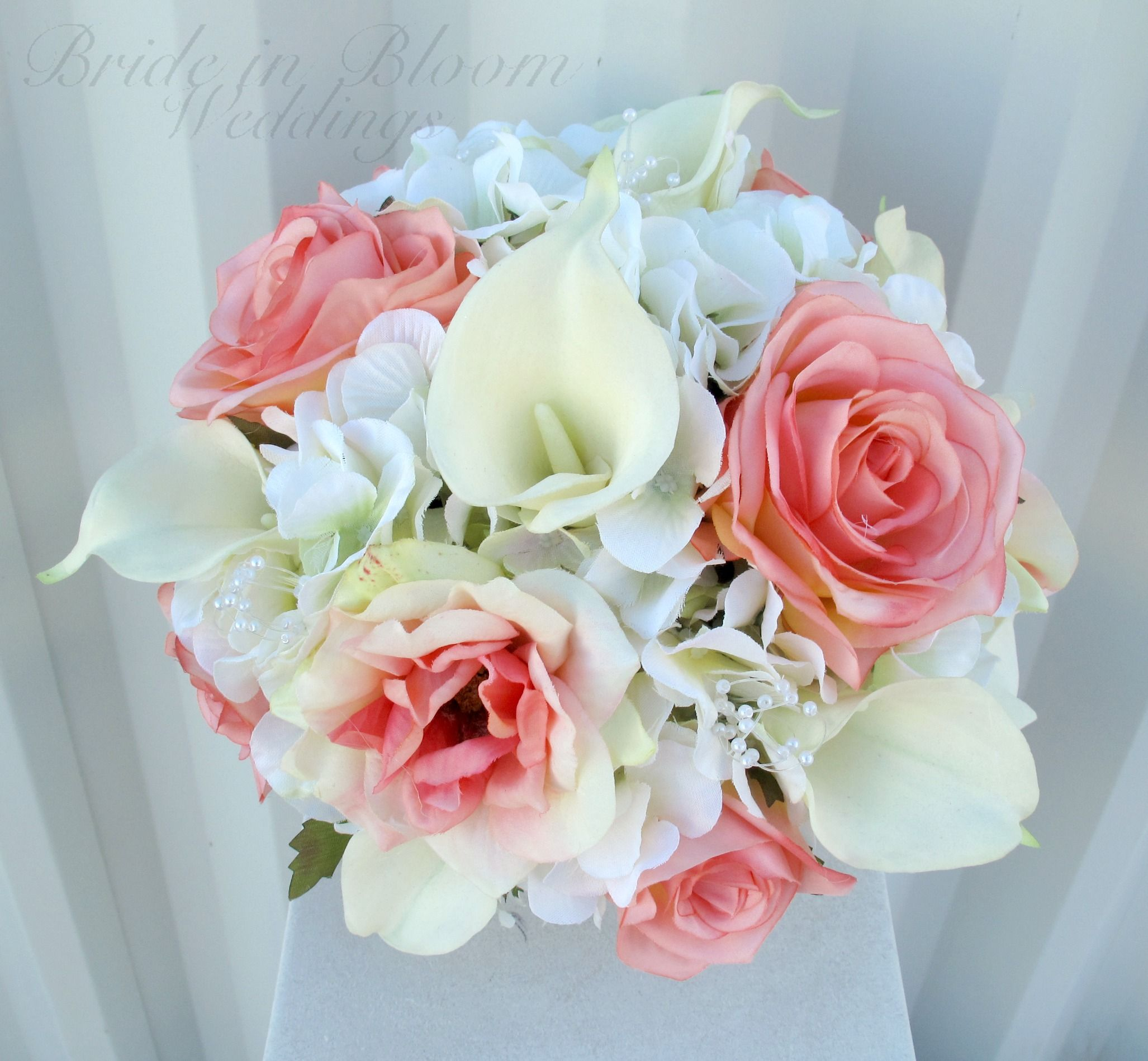 Coral rose calla lily wedding bouquet (With images