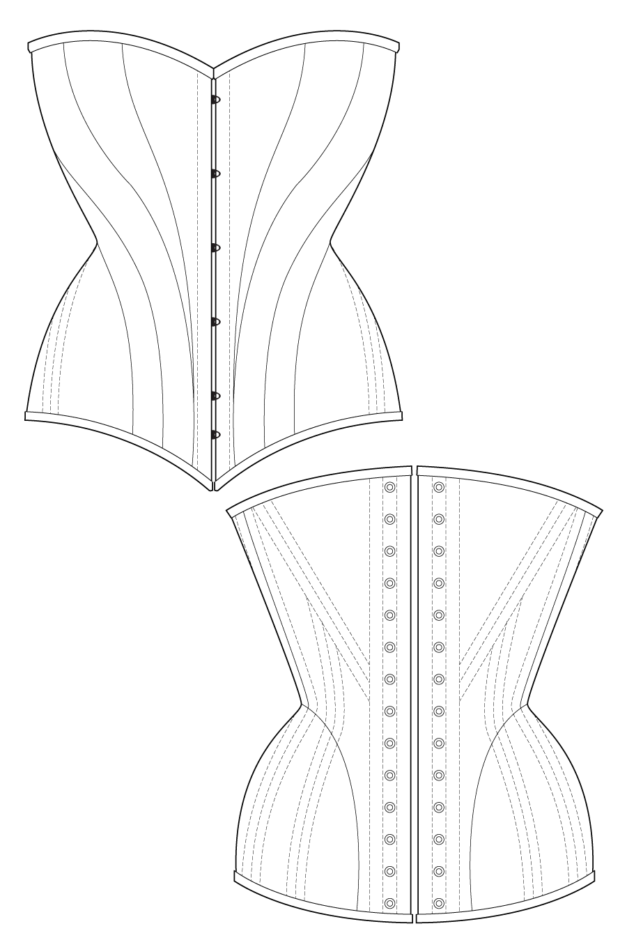 Dinari corset flat drawing by Ralph Pink | Edwardian Lace Dress ...