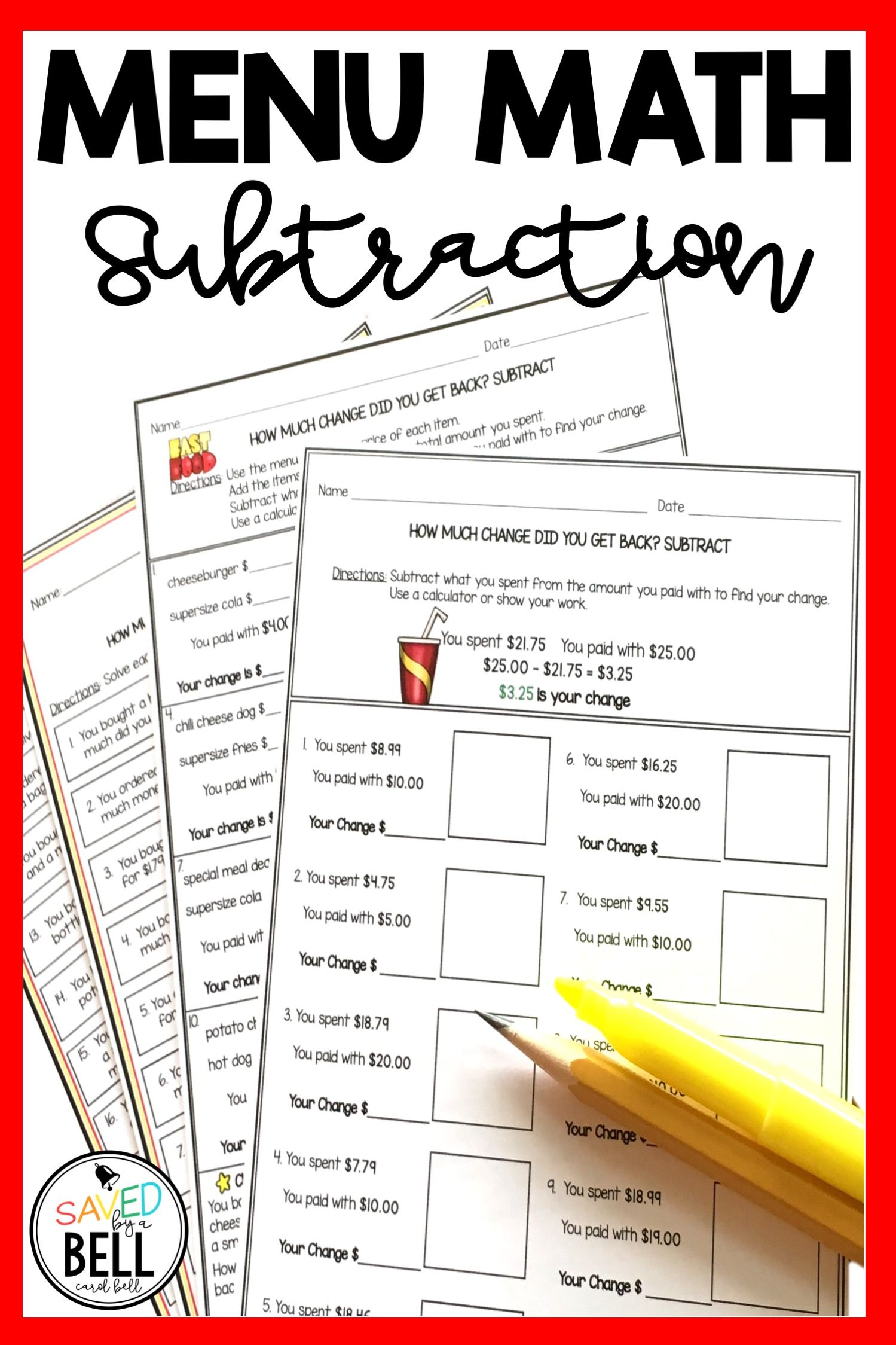 Real World Math Printables Students Use A Fast Food Menu With Awesome Pictures To Locate Prices Add It Math Printables Math Worksheets Kids Math Worksheets