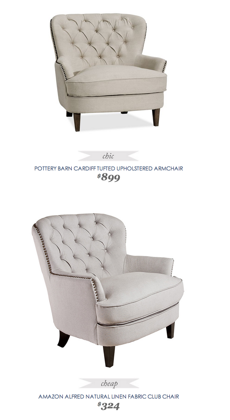 Copycatchicfind Potterybarn Cardiff Tufted Upholstered Armchair 899 Vs Alfred Natural Linen Club Chair 324