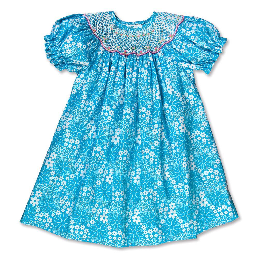 Blue Floral Smocked Bishop 16SU 5598A