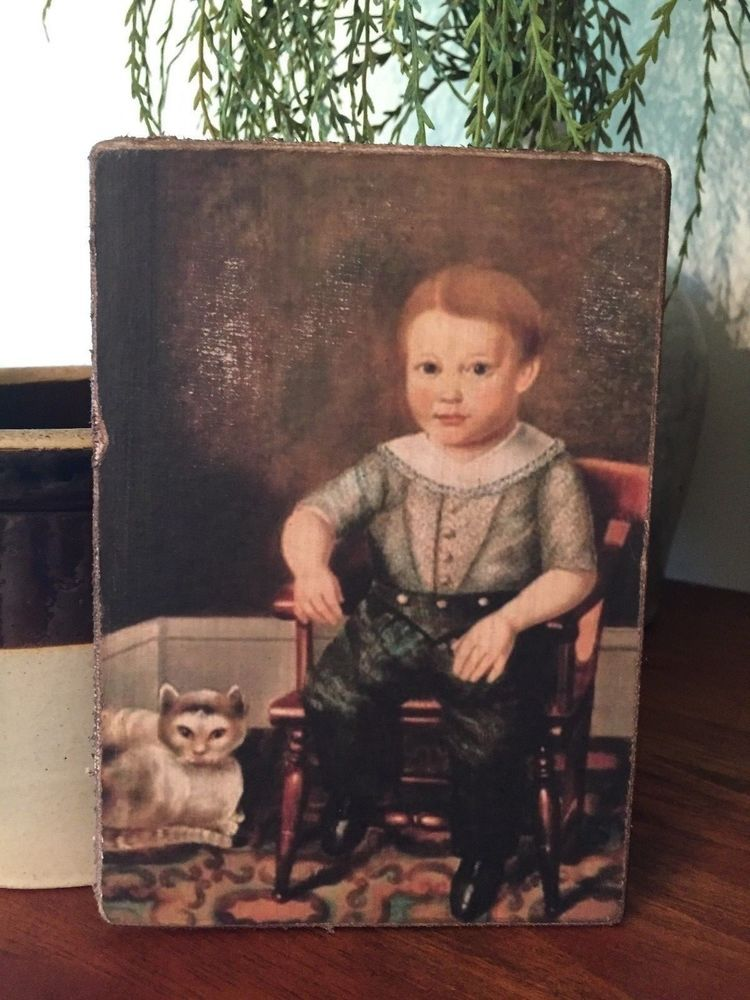 "Handmade Primitive Boy with Cat Folk Art Print on Canvas Board 5x7/"""