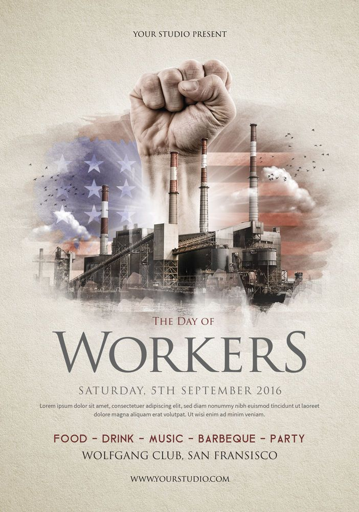 Labor Day Flyer Template PSD Flyer Templates Ad design, Flyer
