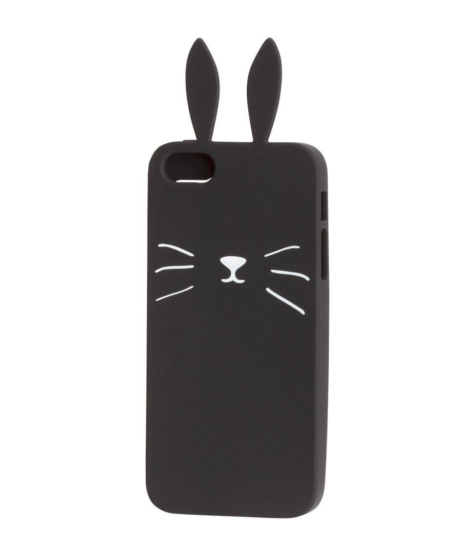 Soft smartphone case in silicone with a printed motif and decorative ears. Fits iPhone 5/5s | H&M Accessories