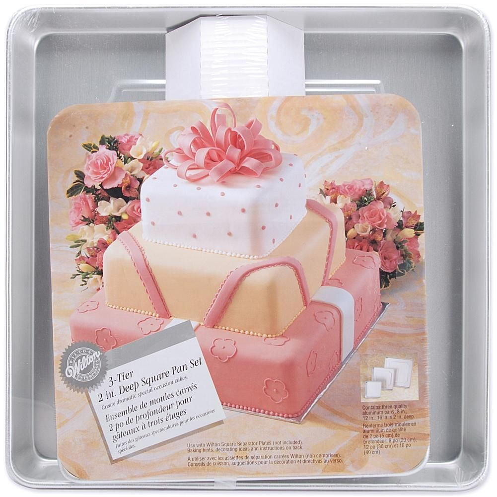 Performance cake pans 3pkg square 8 12 and 16