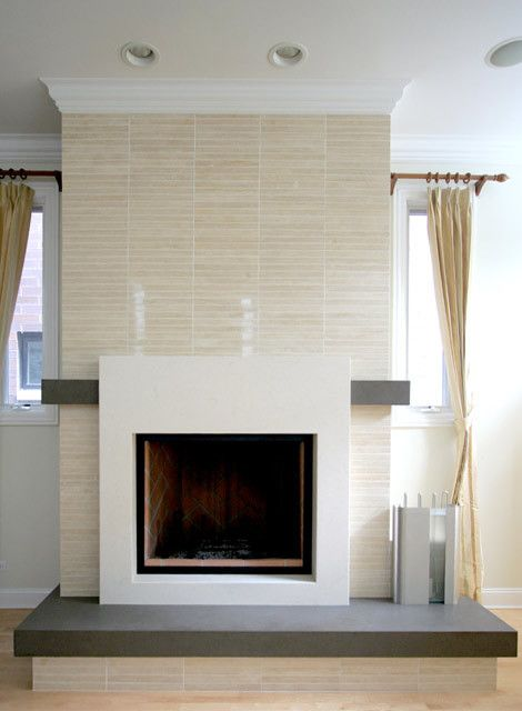 The Tiles Are Vein Cut Travertine. The Fireplace Surround, Hearth And  Mantel Are All Caesarstone.