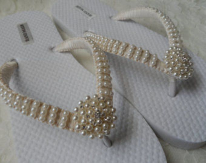 72119fce34c7 Wedge Bridal Flip Flops   Wedding Rhinestone   Pearls Flip