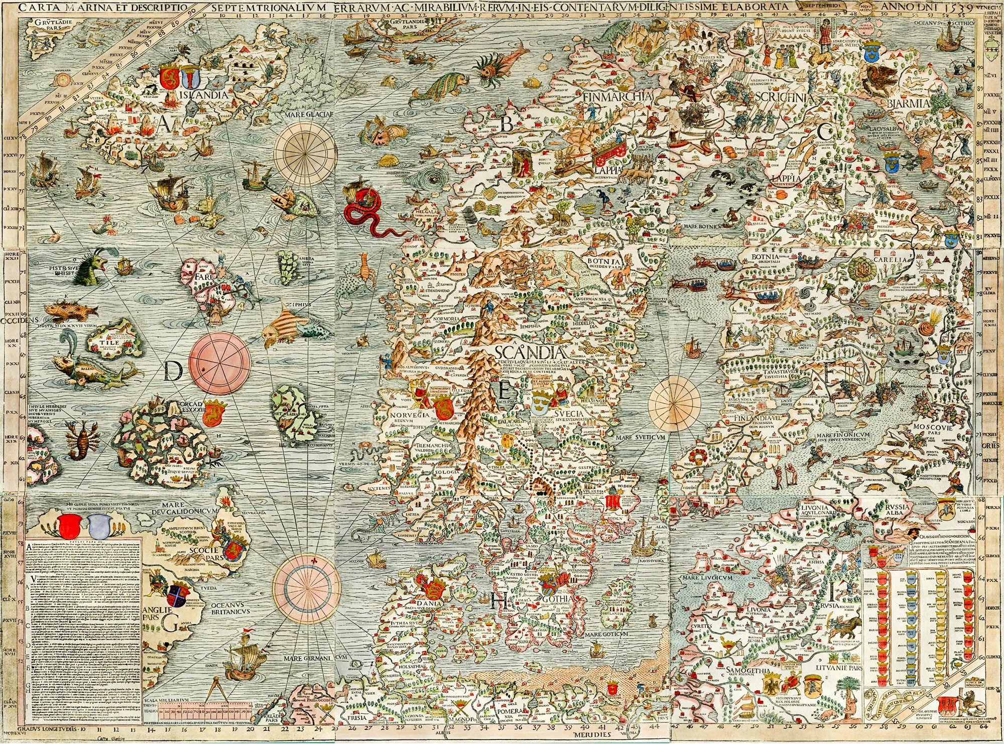 Carta Marina Olaus Magnus Map Of Scandinavia Classic, High Resolution,