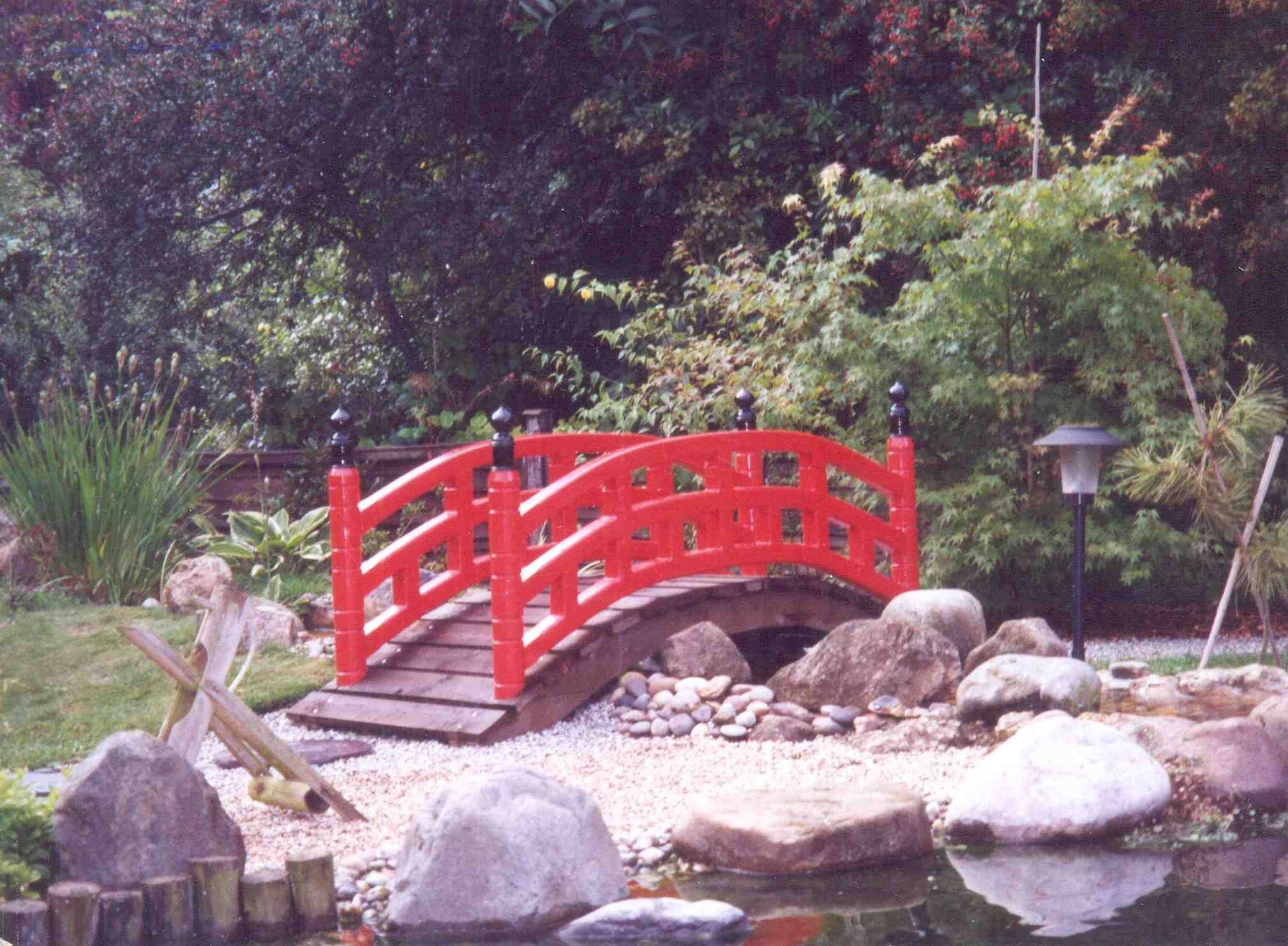 formal japanese garden stone bridge and japanese garden miniature bridge - Red Japanese Garden Bridge