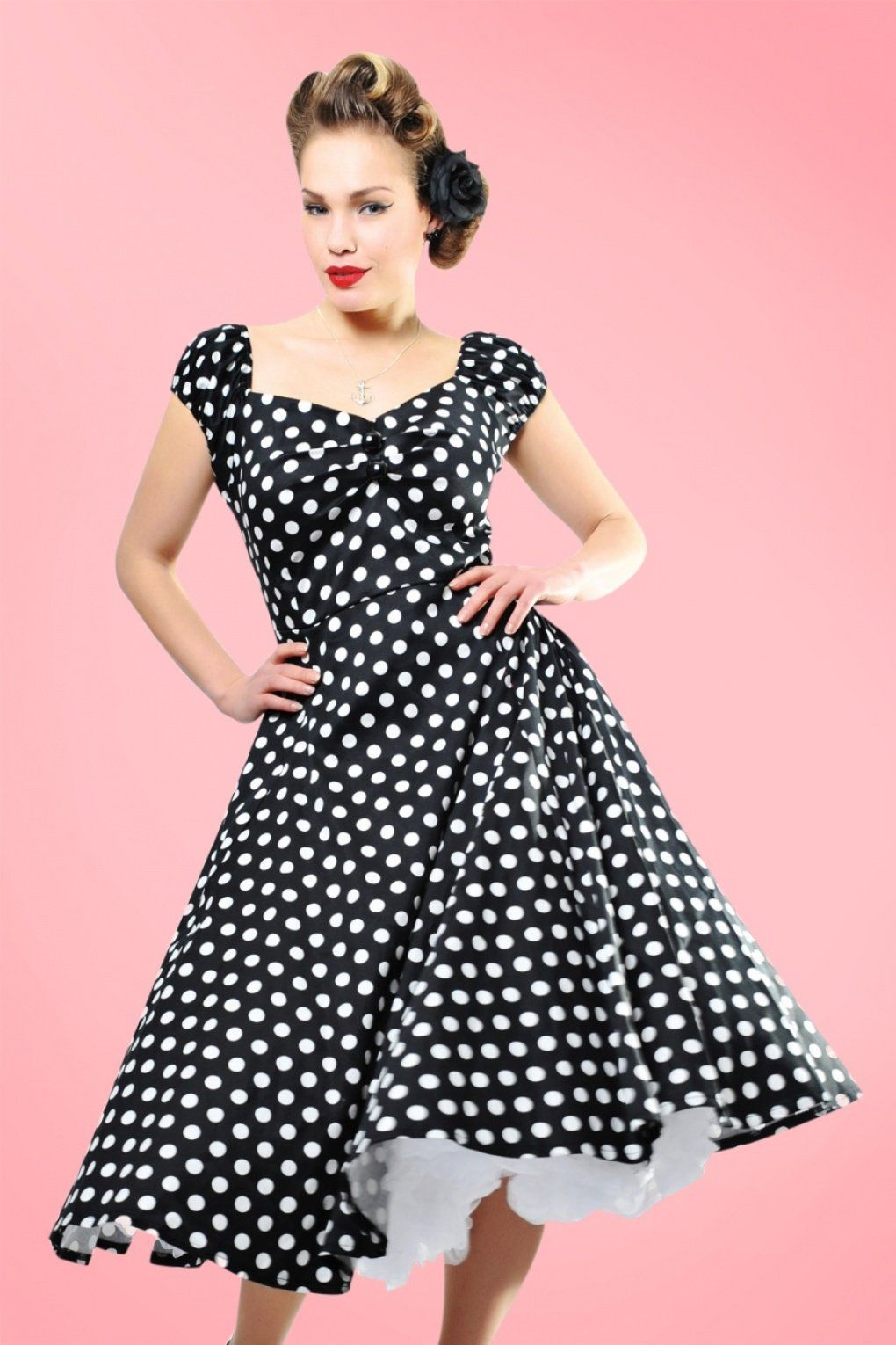 48d9a4c9e1d2 500 Vintage Style Dresses for Sale 50s Dolores Doll dress Black White polka swing  dress £61.54 AT vintagedancer.com