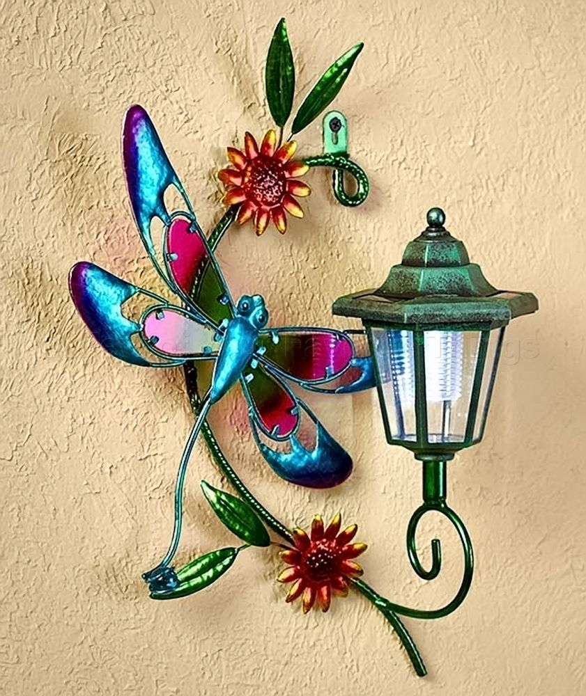 Dragonfly solar wall lantern light yard lawn porch patio deck ...