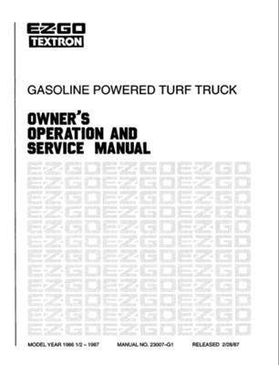 EZGO 23007G1 1986-1987 Owner Operator and Service Manual