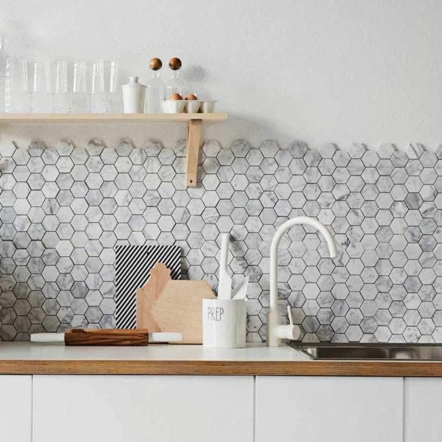 4 Inch White Carrara Hexagon Honed Marble Mosaic Tile In 2021 Unique Kitchen Backsplash Marble Tile Backsplash Kitchen Marble Herringbone Tile