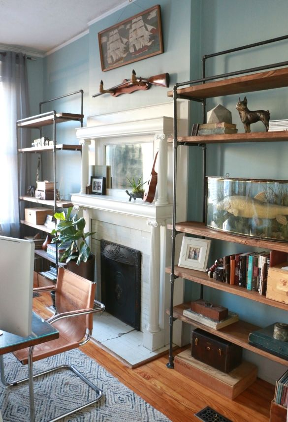 design plans for these industrial plumbing pipe bookcases we built for our front office diy. Black Bedroom Furniture Sets. Home Design Ideas