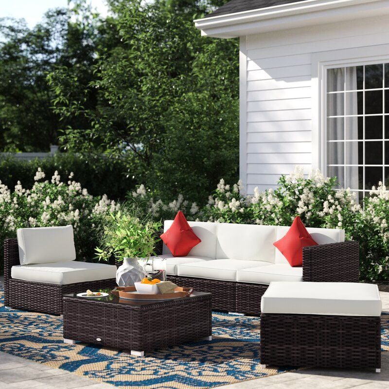 Barnett 6 Piece Rattan Sectional Seating Group With Cushions Patio Lounge Furniture Seating Groups Furniture