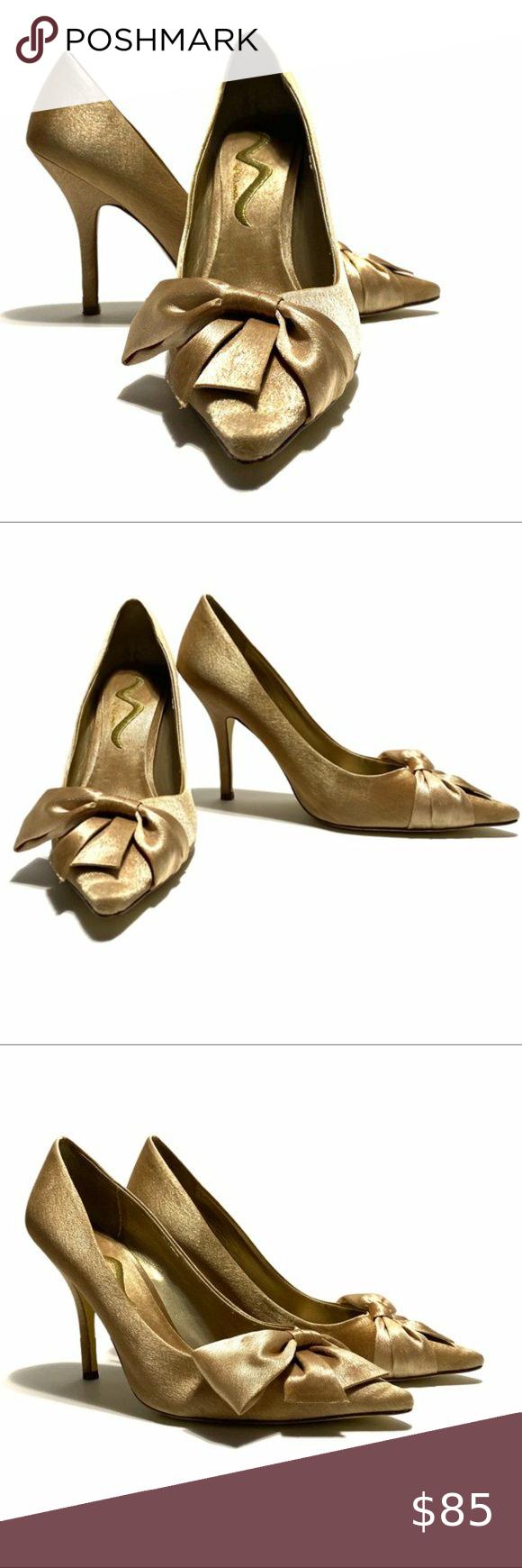 Nina Gold Royal Satin Bow Pointed Toe High Heels Shoes Women Heels Sparkly High Heels Heels