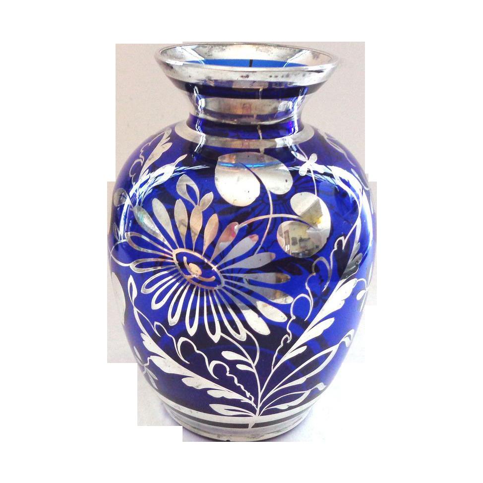 Cobalt blue and silver deposit vase cobalt blue cobalt and ruby cobalt blue and silver deposit vase floridaeventfo Image collections