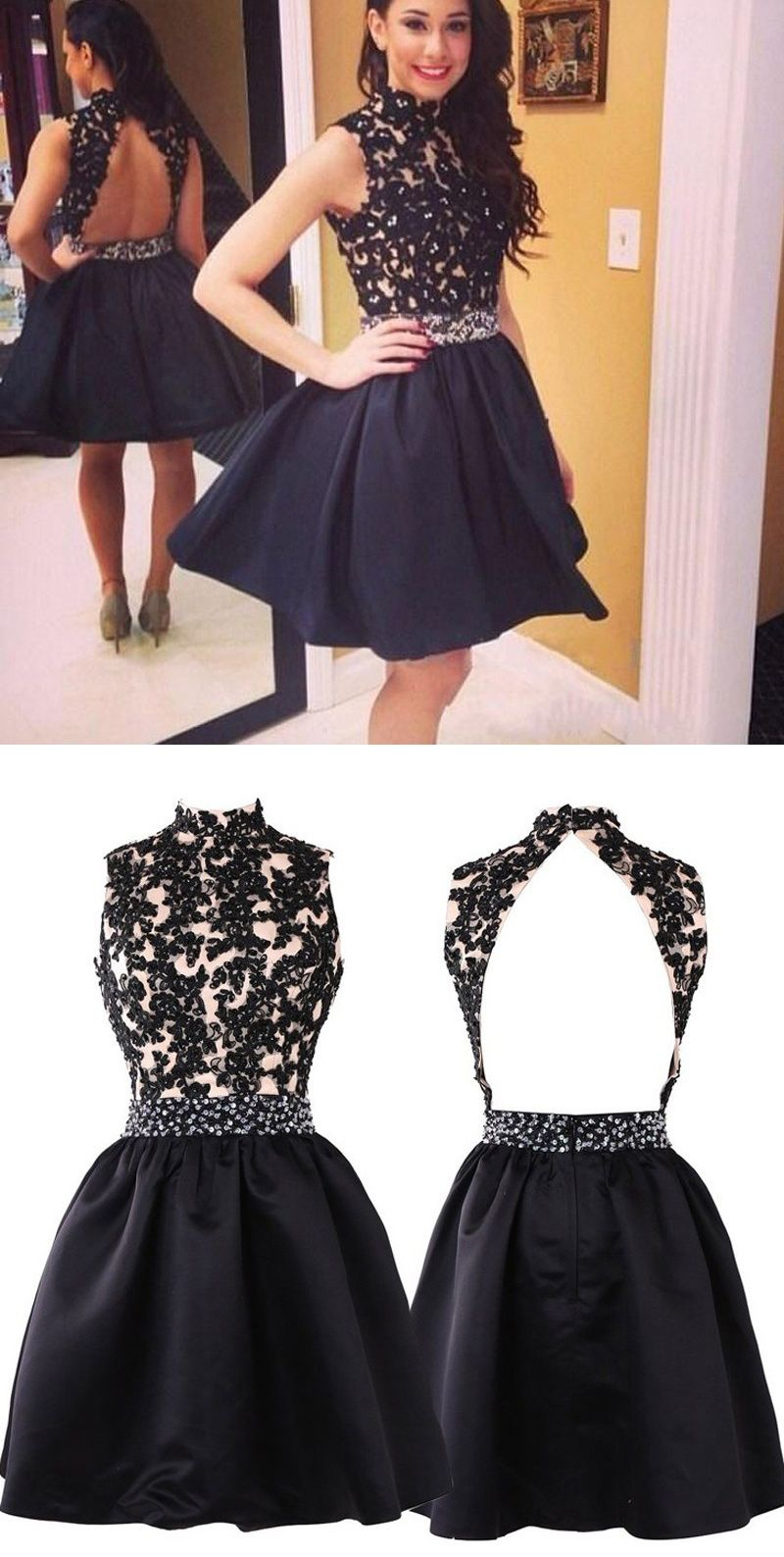 270331f0cbb A-Line High Neck Open Back Black Satin Short Homecoming Dress with ...