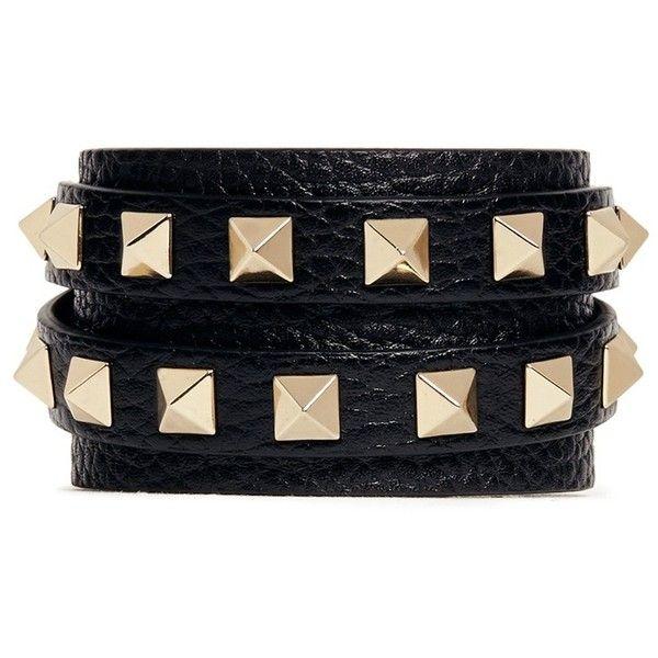 3a3db468d1c0 Valentino  Rockstud  double wrap leather bracelet found on Polyvore ...
