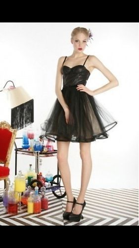 $597 Stunning Black Leather Tulle Corset Dress by Alice