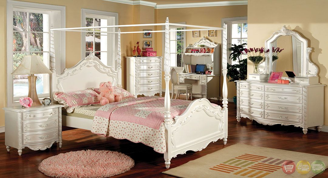Victoria Fairy Tale Pearl White Bedroom Set With Vanity Jewelry Box