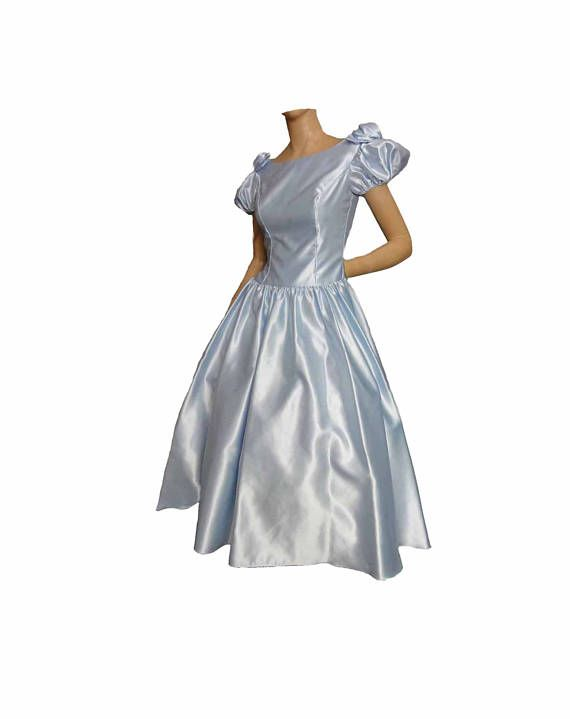 80s Prom Dress Baby Blue Satin Formal Gown Bridesmaid Dress ...