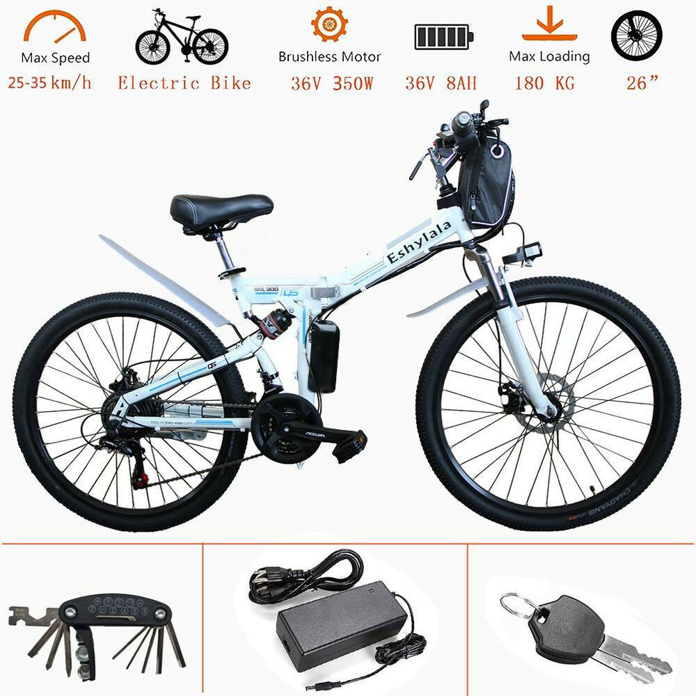 Ebay Sponsored White 26 Eshylala Folding Electric Bike City