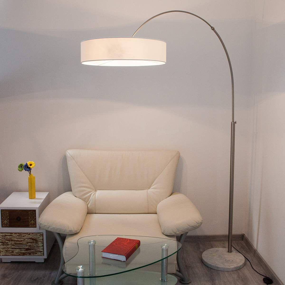Weiße Textilstehleuchte Shing  Bodenlampe, Wohnzimmerlampe und