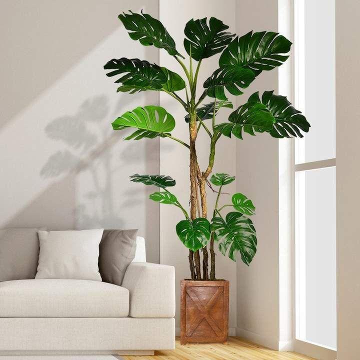 Bayou Breeze Monstera Artificial Home Dcor Floor Foliage Tree In Planter Living Room Plants Artificial Indoor Trees Monstera