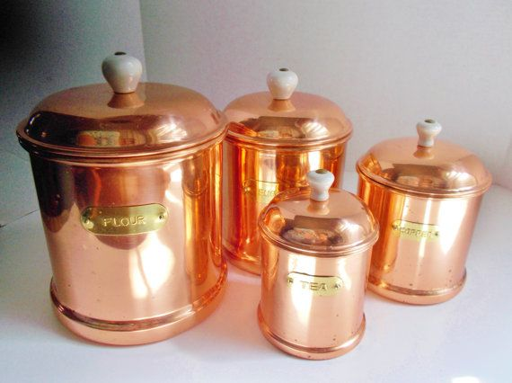 Vintage Copper Canister Set Flour Sugar Coffee Tea By Nannasthings 65 00