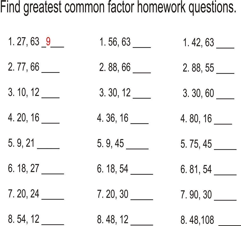 Greatest common factor worksheet You Calendars https
