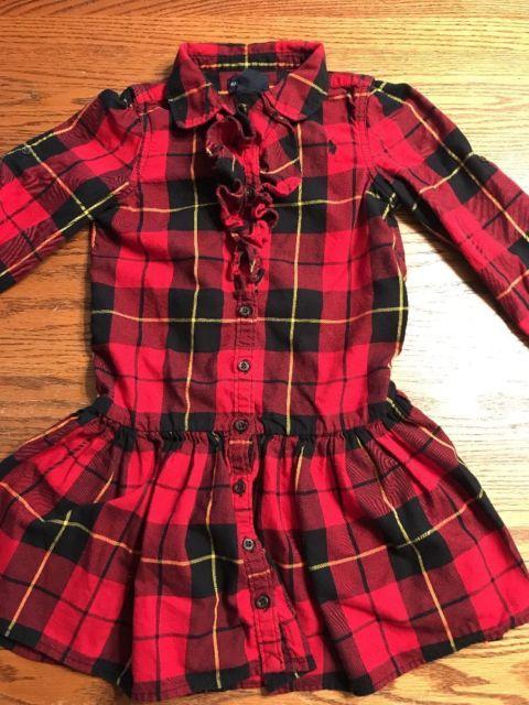 60b62db21c7 Ralph Lauren Girls Size 6 Multi Color Plaid Long Sleeve Flannel Shirt Dress